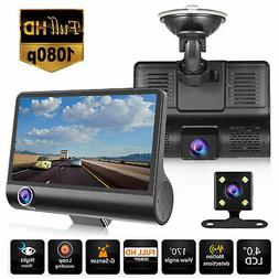 "4"" 1080P HD 170° 3 Lens Car DVR Dash Cam G-sensor Recorder"