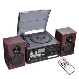 Bluetooth LCD Vinyl Record Player Play CD Cassette MP3 Music