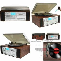 Boytone Natural Record Player Vintage Turntable Speed Black