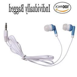Wholesale Bulk Earbuds Headphones Individually Bagged 100 Pa