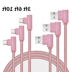 Type C Cable, Asstar 3ft 6ft 10ft Right Angle 90 Degree Nylo