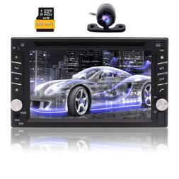 Camera&GPS Double 2Din Stereo Radio Car CD DVD Player Blueto