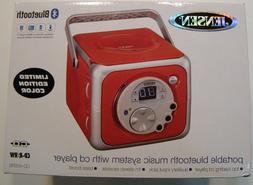 Jensen CD-555 Red CD Bluetooth Boombox Portable Bluetooth Mu