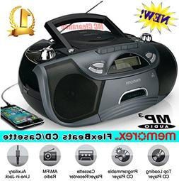 cd/cassette recorder boombox mp3 am/fm flexbeats mp3262-x wi