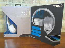 Coby CHBT-608-WHT Flex Bluetooth Headphones with Built-In Mi