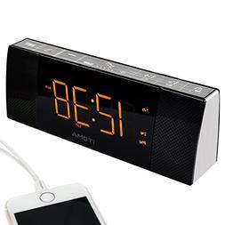 iTOMA Clock FM Radio, Dual Alarm, Bluetooth Speaker, Auto Ti