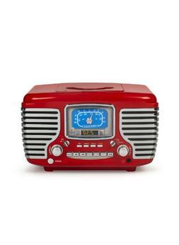 Crosley CR612D-RE Red Corsair Retro AM/FM Radio Dual Alarm C