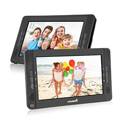 """10.1"""" Dual Screen Portable DVD Player with 5-Hour Built-In R"""