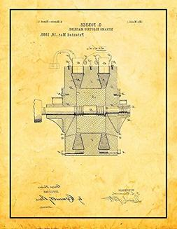 Dynamo Electric Machine Patent Print Art Poster Golden Look