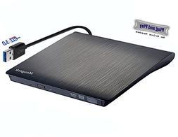 External DVD CD Drive, Mougerk USB 3.0 Ultra Slim Drives CD