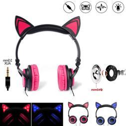 Foldable Cute Cat Ear Headset Overhead Kids Headphones Earph