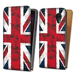 Google Nexus 5 Downflip Bag white - Union Jack - Grunge