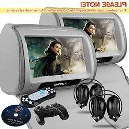 "XTRONS Grey 2X Twin Car headrest DVD player 9"" HD Touch Scre"