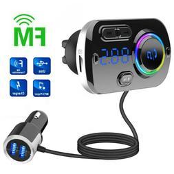 Hands-free Car bluetooth 5.0 FM Transmitter w/ Color Screen