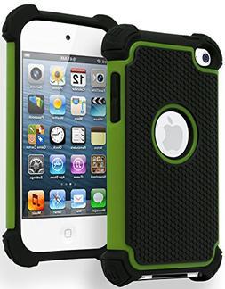 iPod Touch 4 Case, Bastex Hybrid Slim Fit Black Rubber Silic