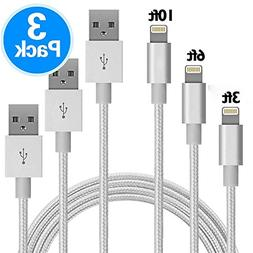 GANJOY iPhone Charger 3Pack 3FT/6FT/10FT Nylon Braided 8 pin