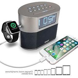iHome Bluetooth Dual Alarm FM Clock Radio with Speakerphone,