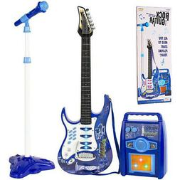 Kids Blue Electric Guitar Set MP3 Player Learning Toys Micro