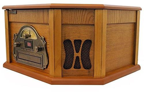 8-in-1 BT-25PW Bluetooth Connection Natural Wood Classic Turntable Stereo Vinyl CD, USB, Slot. 2 Remote MP 3 Players