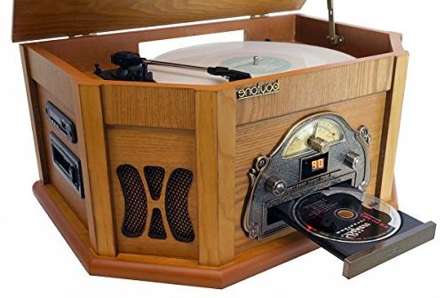 8-in-1 BT-25PW Bluetooth Connection Wood Classic Vinyl AM/FM, CD, Slot. Built-in Speaker, Remote Control, Players