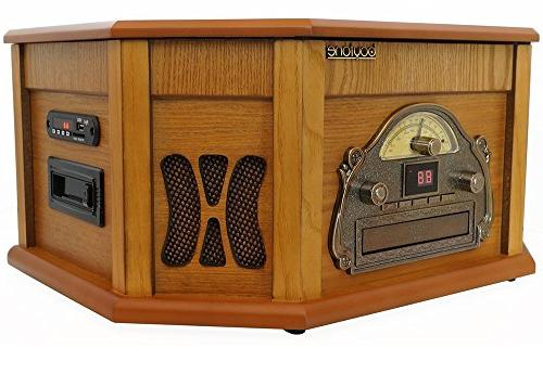 8-in-1 Bluetooth Connection Natural Wood Classic Vinyl Record AM/FM, CD, Slot. Remote Players