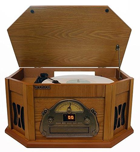 Bluetooth Connection Classic Stereo Vinyl Record AM/FM, CD, Slot. 2 Built-in Remote 3 Players