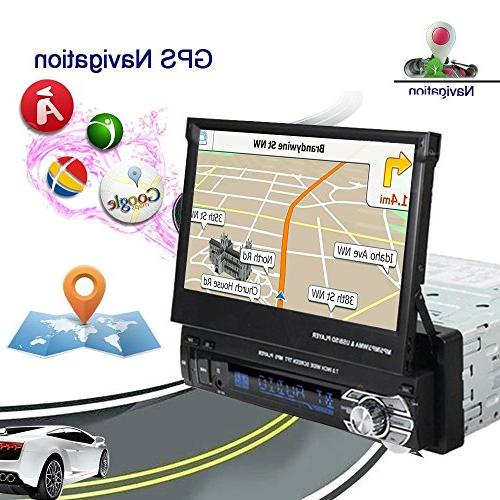 "1 7"" Car Foldable Screen GPS +Backup Camera 8g Map Card Phone Synchronization"