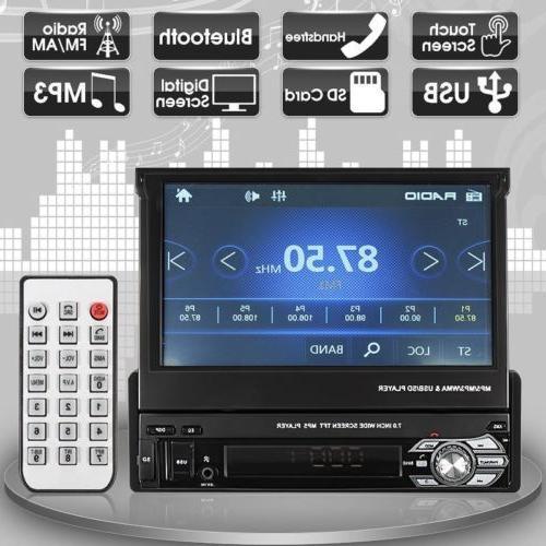 "1 DIN Single 7"" HD Touch Screen Car MP5 Player Bluetooth Rad"