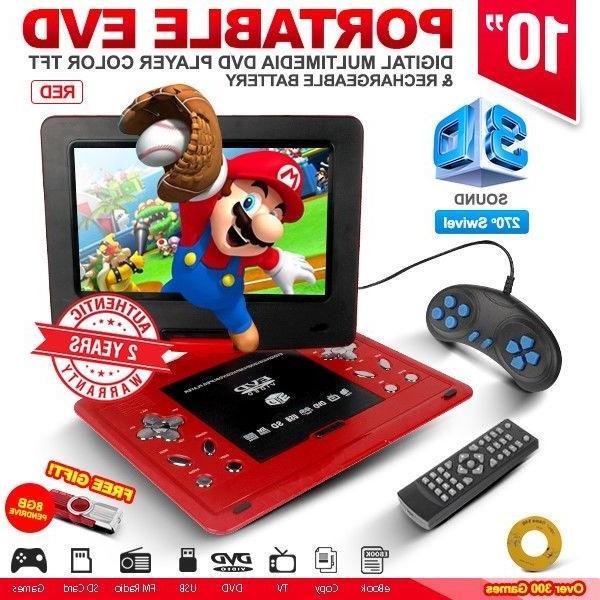 "10"" Red Portable EVD TFT TV DVD Player 270° Swivel LCD USB"