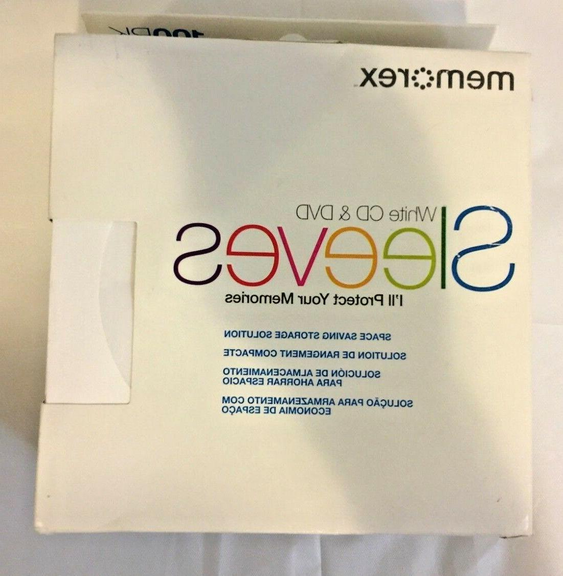 100 new white cd dvd player sleeves