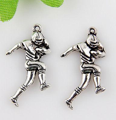 10pcs zinc alloy football player charms pendants