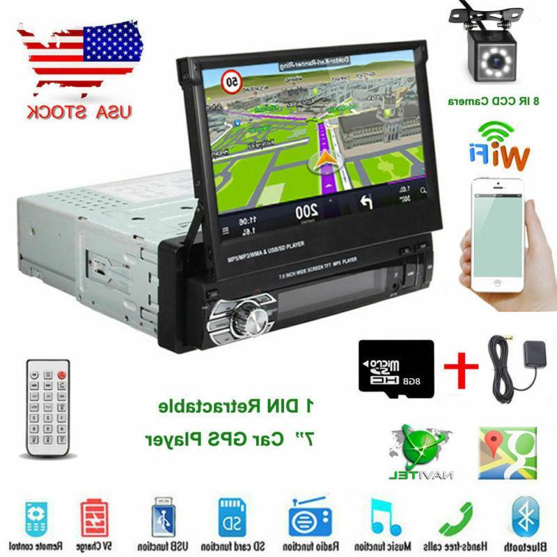 "7"" Retractable Single 1DIN Car Radio Stereo MP5 Player GPS N"
