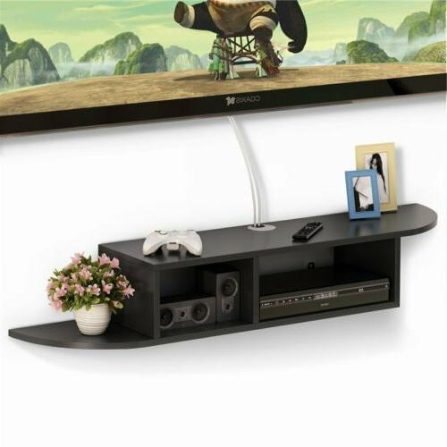 2 Tier Modern Wall Mount Floating Shelf TV Console for Cable