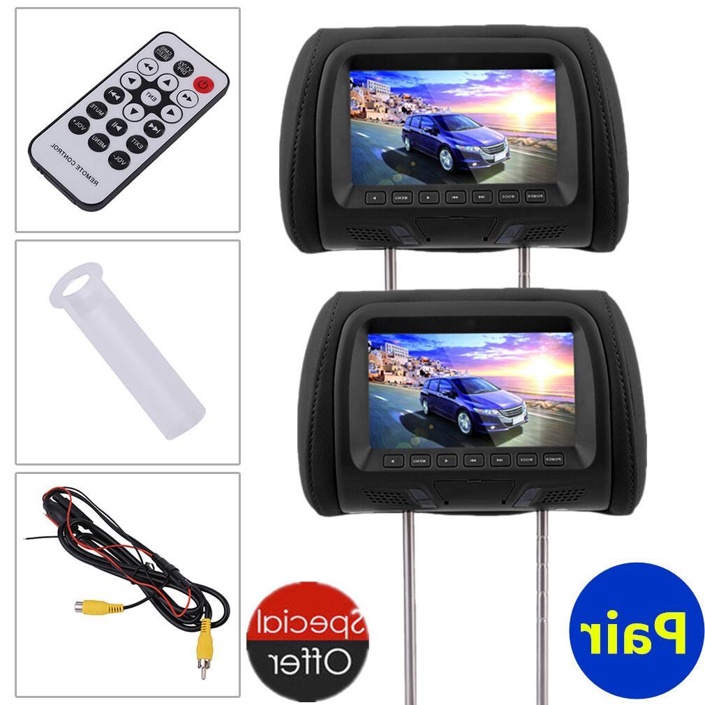 "New Pair 2x 7"" LCD Car NO DVD Monitor Player Headrest Pillow"