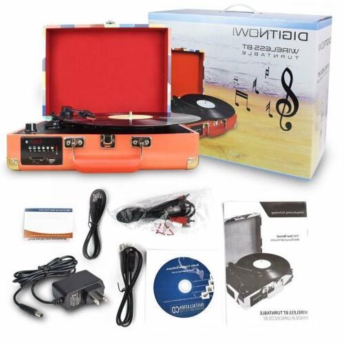 3-Speed Vinyl Record Player Turntable W/ Speakers