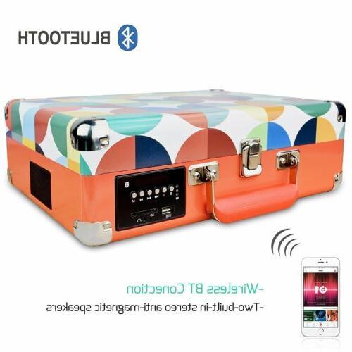 3-Speed Bluetooth Vinyl Turntable Speakers