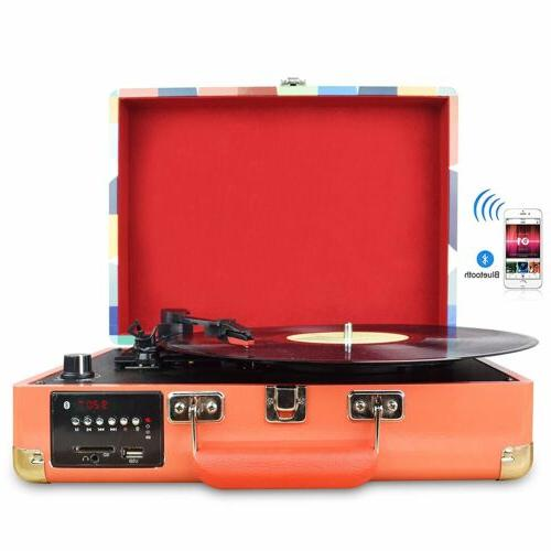 3-Speed Vinyl Record Stereo Turntable W/