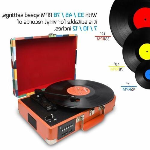 3-Speed Bluetooth USB Vinyl Player Turntable Speakers