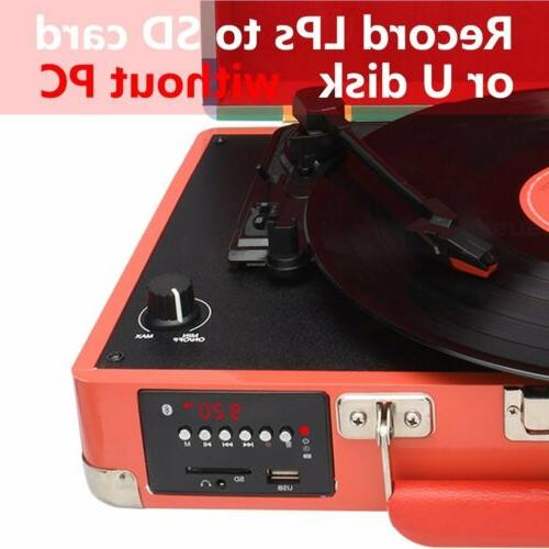 3-Speed USB Vinyl Player Stereo Turntable W/ Speakers