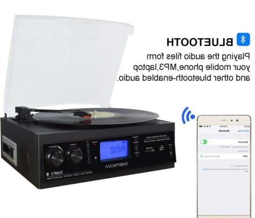 3-Speed Bluetooth Turntable Built-in Speaker Record to