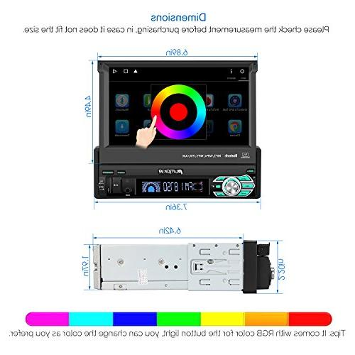 32GB + 2GB Single Din Car Radio Bluetooth, Navigation, 7 Flip Out Touch - Support WIFI, Camera, AUX input, USB, Dash Cam