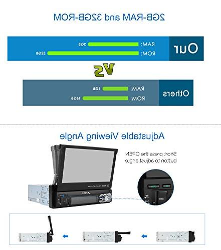 32GB Single Din Radio with GPS Navigation, inch Out Touch Support Camera, USB,