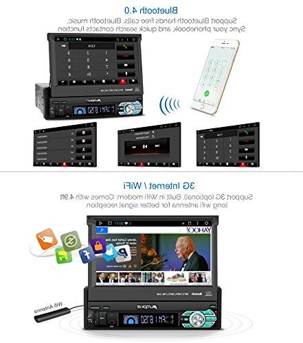 32GB 2GB Single Din Car Radio Bluetooth, GPS Navigation, Out Support MirrorLink, Camera, AUX input, USB, Dash