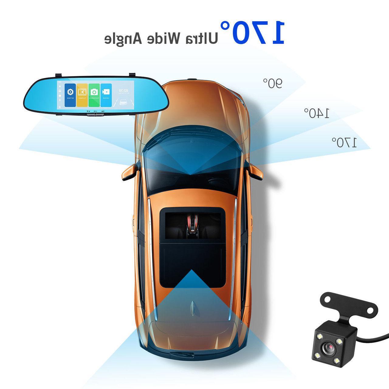 7'' 1080P Dual Touch Screen Car DVR Rear Mirror Camera Recorder