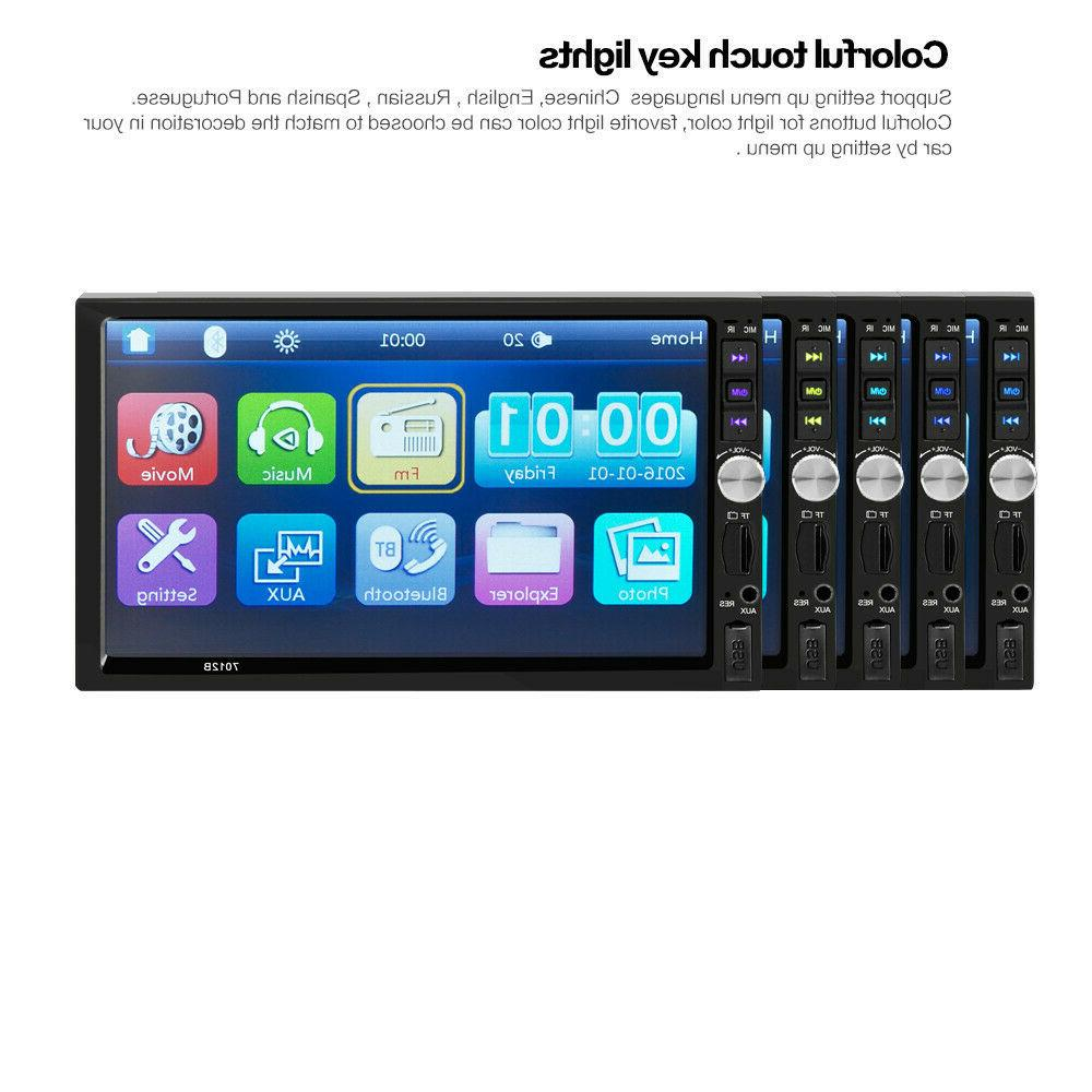 "7"" Double 2Din Screen Car Player Bluetooth Radio Mirror"