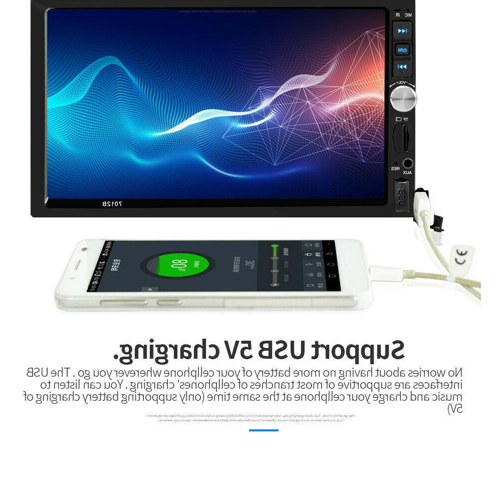 """7"""" Double Touch Screen Player FM Radio Mirror Link"""