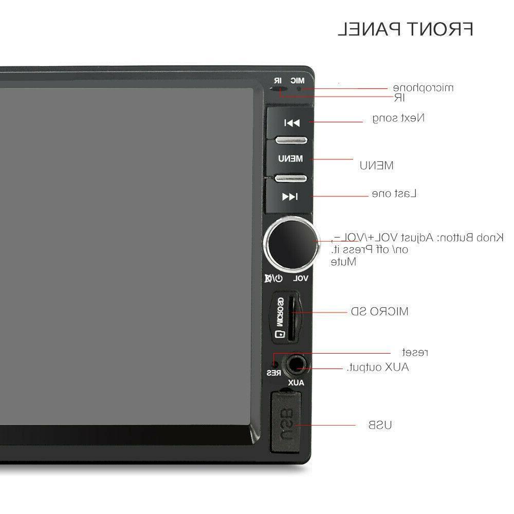 "7"" inch Double 2 DIN Car Bluetooth Screen Radio Camera"