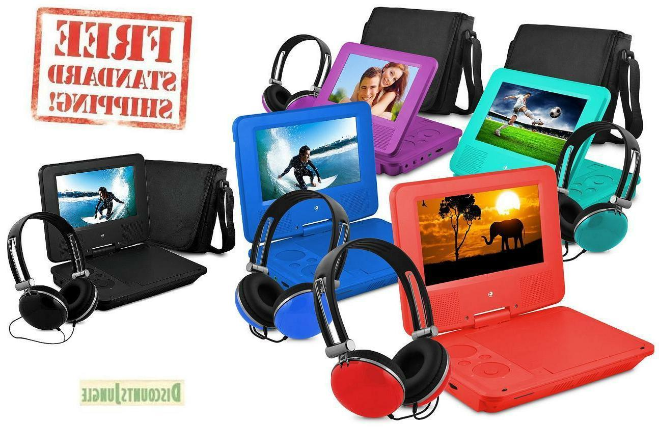 "7"" Portable Personal DVD Player w/Headphones &Carry Case Kid"