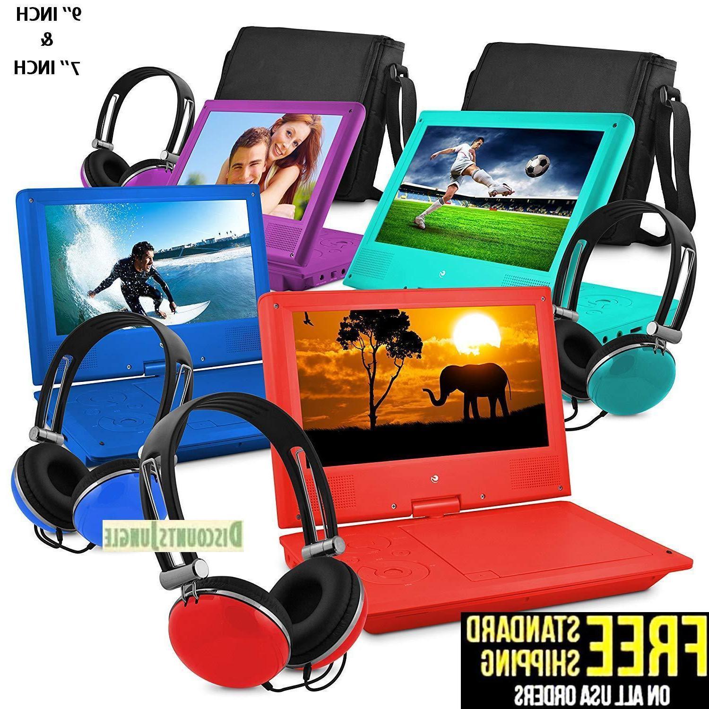 7 portable personal dvd player w headphones