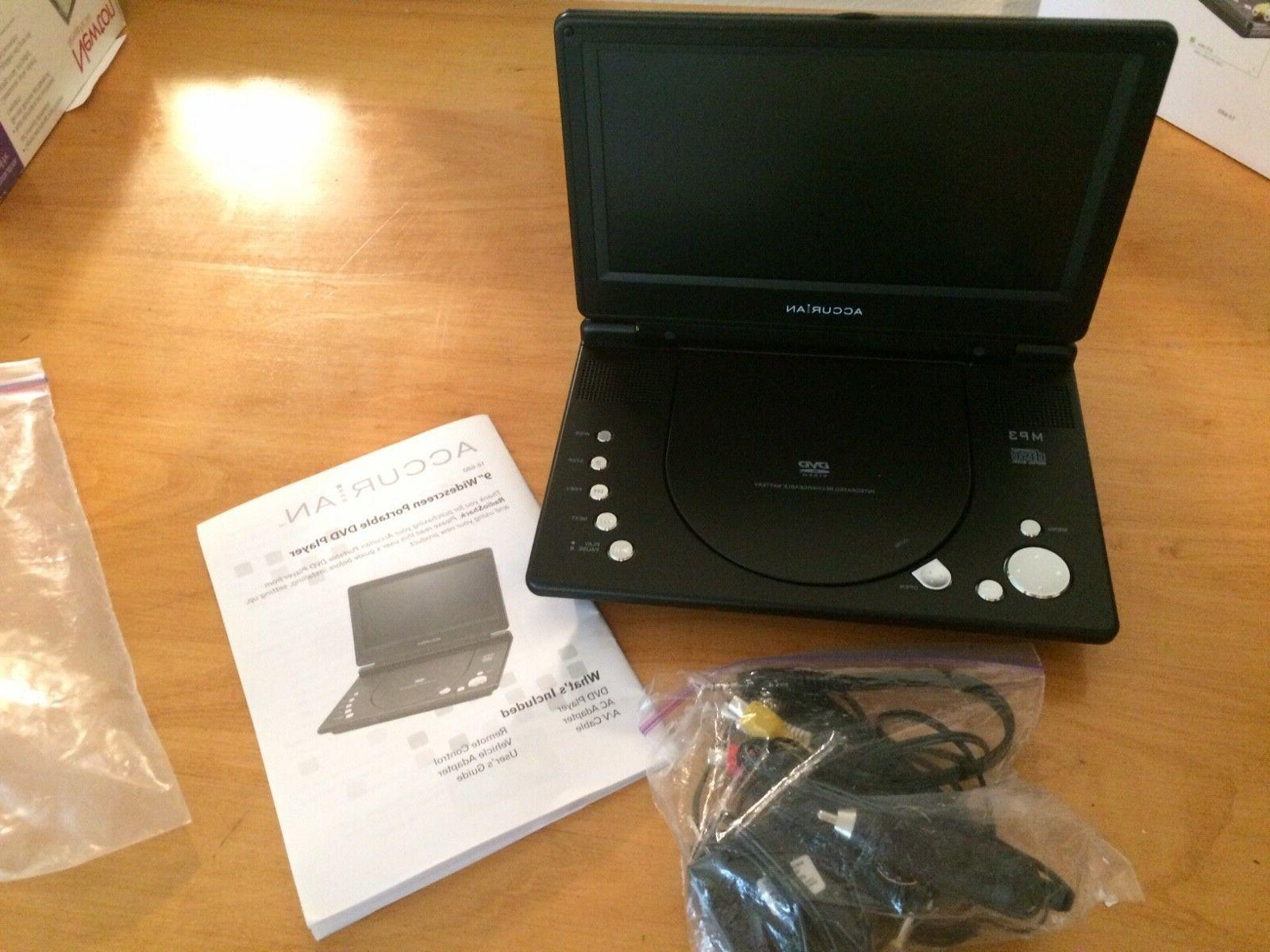"""9"""" Accurian DVD Player, Remote Control, Vehicle Adapter, AC"""